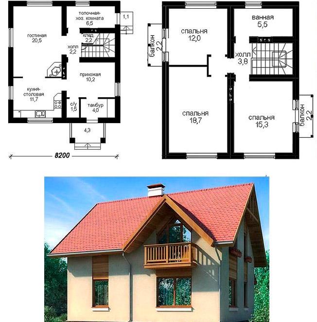 Проектирование дома с мансардой 8х10 из газобетона