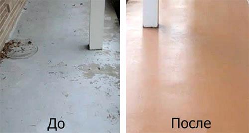 До и после окрашивания пола