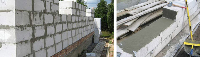 Монтаж газосиликатных строительных блоков
