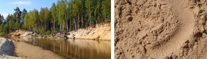 Песок, добытый со дна реки