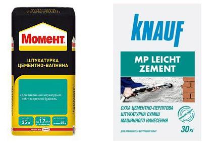Сухие смеси Момент и Knauf