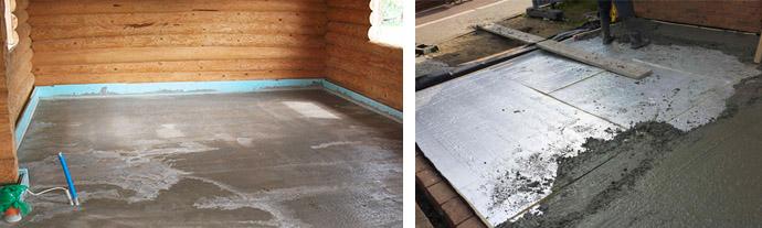 Заливка бетонных полов в бане