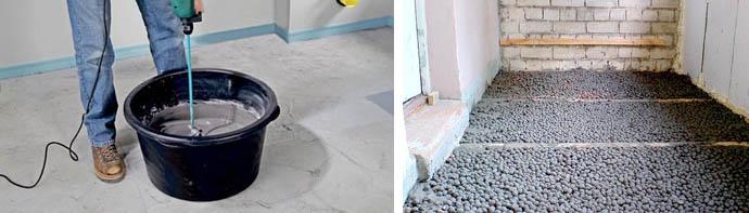 Заливка керамзита цементным молочком