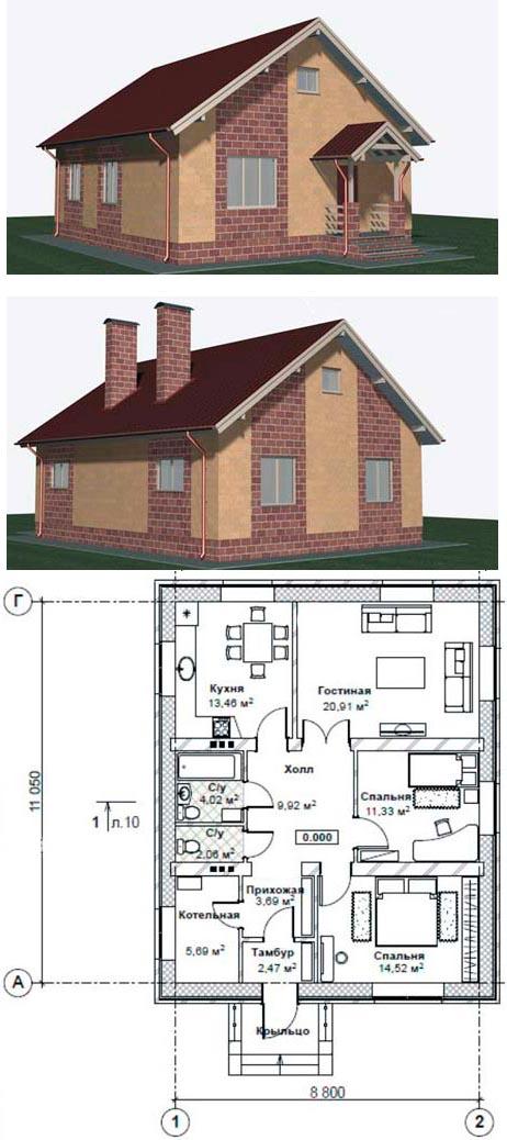 Проект дома с мансардой 9х11