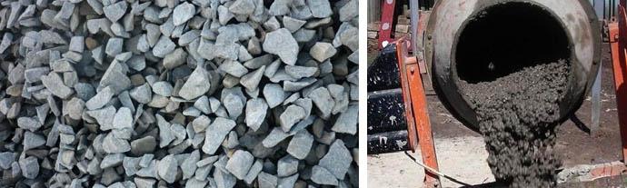 Содержание щебня в бетонном растворе