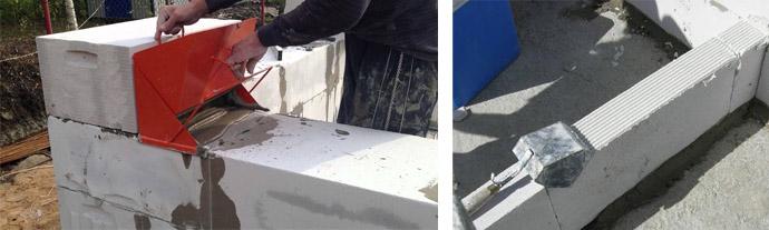Укладка блоков из газобетона