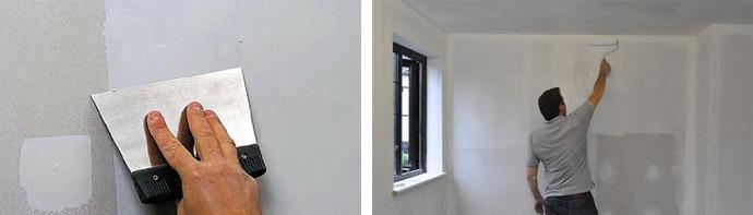 Шпатлевка и грунтовка стен дома