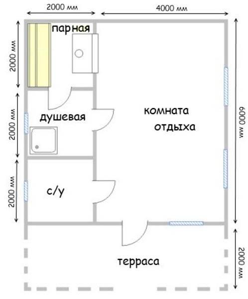 Баня 8х6 с террасой