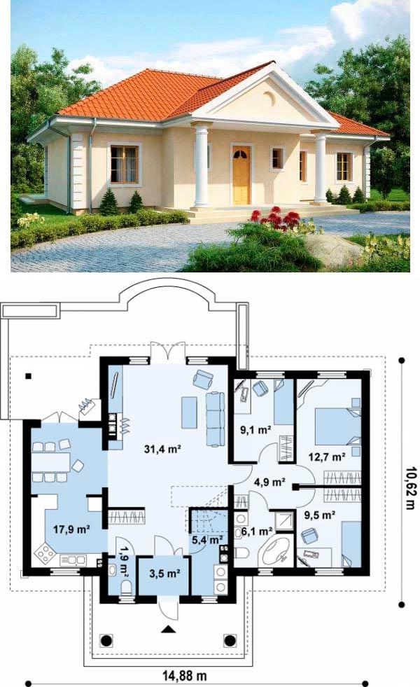 Одноэтажный дом 10х15