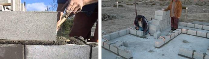 Процесс кладки блоков
