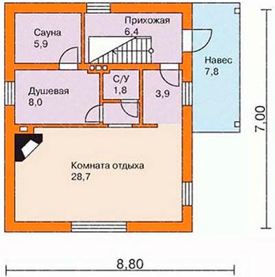 Схема бани 7х9 из блоков