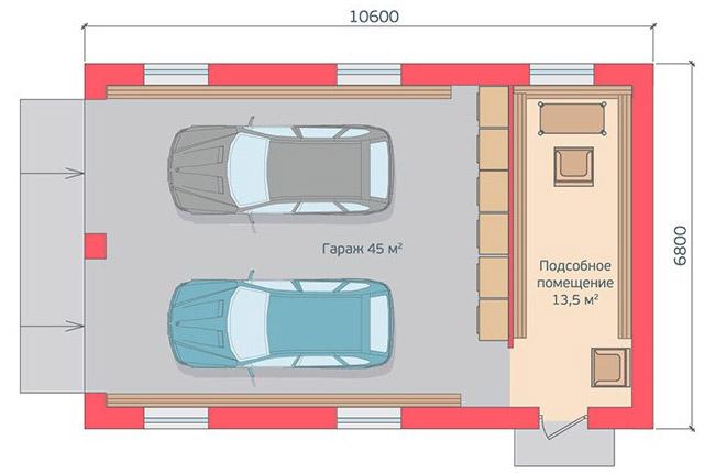 Схема гаража на две машины