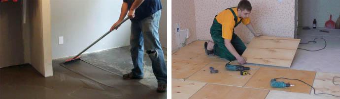 Выравнивание бетонного пола под линолеум своими руками 44