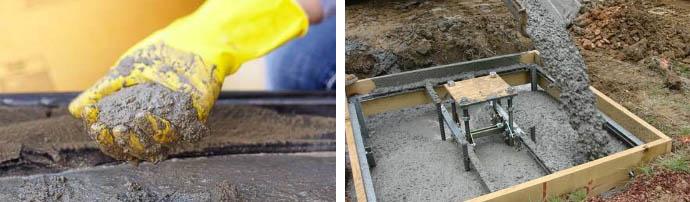 Приготовление бетона для основания
