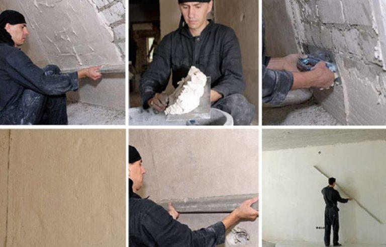 пример: нанесение штукатурки на стену без маяков в термобелье замечательно