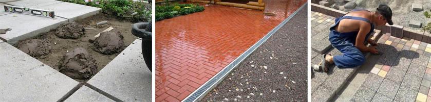 Тротуарная плитка на бетонной поверхности