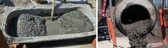 Замешивание вручную и в бетономешалке
