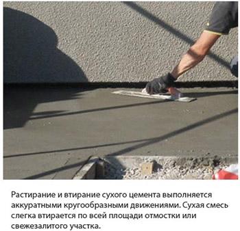 Нанесение сухого цемента