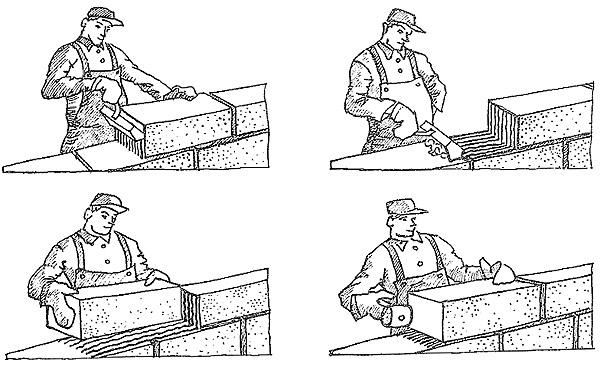 Процесс кладки шлакоблоков