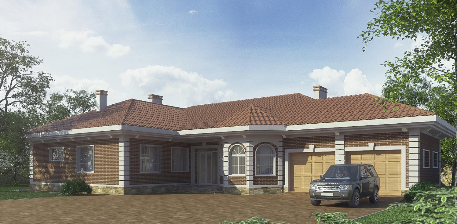 Внешний вид дома с отделкой фасада под кирпич