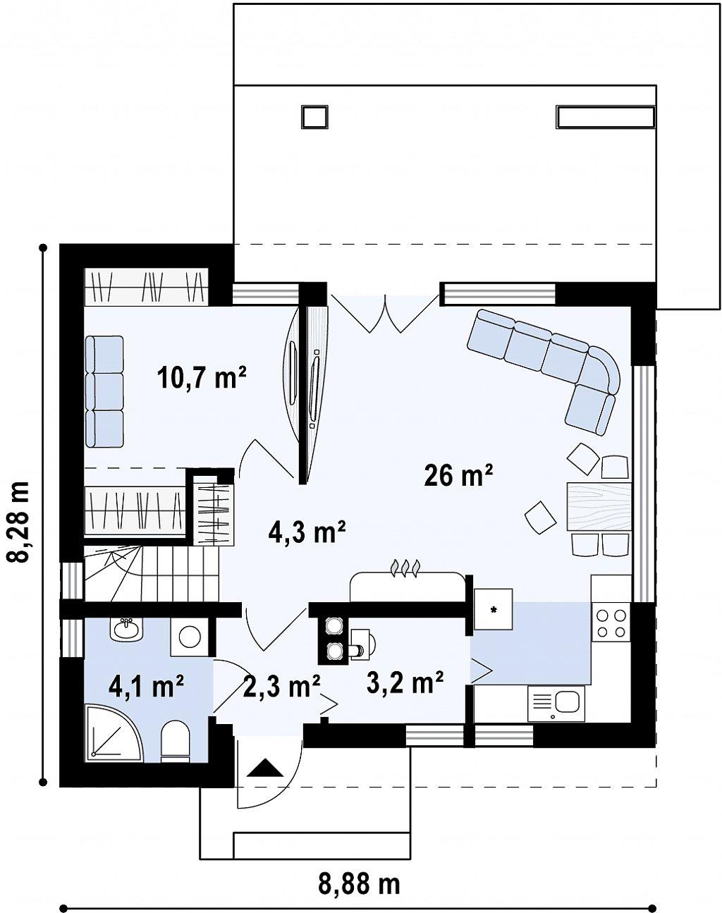 Второй этаж компактного дома
