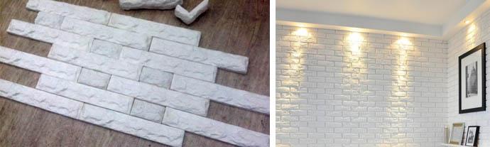 Гипсовая обшивка стен внутри дома под кирпич