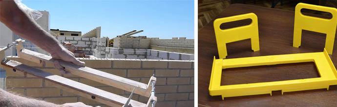 Приборы для укладки блоков