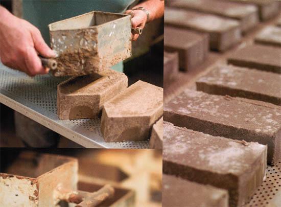 Процесс формовки блоков
