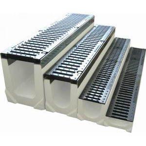 Бетонные лотки с решеткой для стока воды